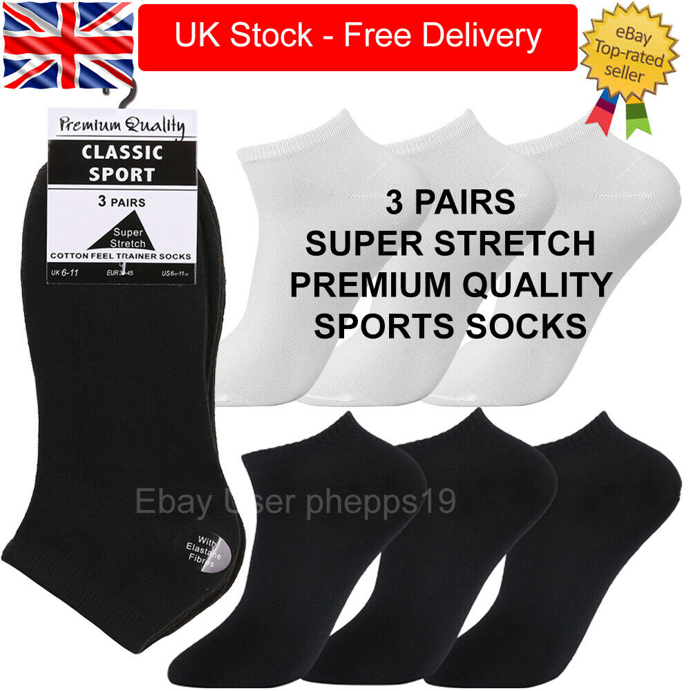 3 Pairs Mens Womens Trainer Liner Ankle Socks Low Cut Sports Socks Size 4-6 6-11
