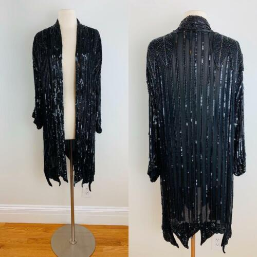 Vintage 70s JUDITH ANN Inky Black Silk Sequin + Be