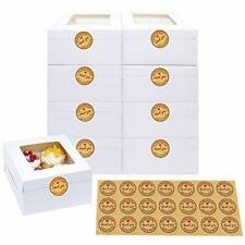9pcs 6x6x3 Inches White Bakery Boxes With Window Paper Gift Boxes For Pastrie
