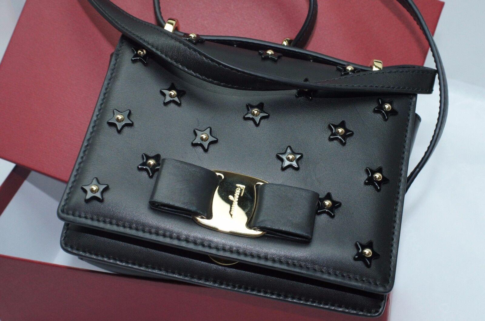 Salvatore Ferragamo Ginny Black Bag Crossbody Holiday Gift Clutch ... c7fd81a46915f