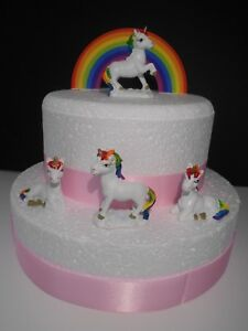Image Is Loading Rainbow Amp Unicorn Birthday Cake Topper Decoration