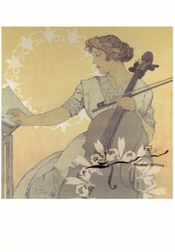 Postcard Art Postkarte Die Cellistin Zdenka Cernà Alfons Mucha