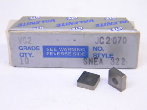 NEW-SURPLUS-10PCS-VALENITE-SNEA-322-GRADE-VC2-CARBIDE-INSERTS