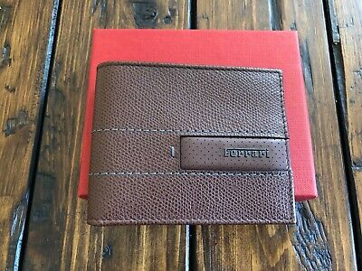 Genuine Ferrari Brown Leather Wallet Extremely RARE Made in Italy NEW in BOX