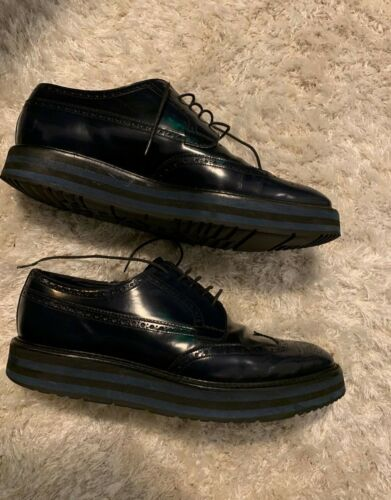 Leather Blue 10 Prada Derby Shoes Platform Size U4XX0xqd