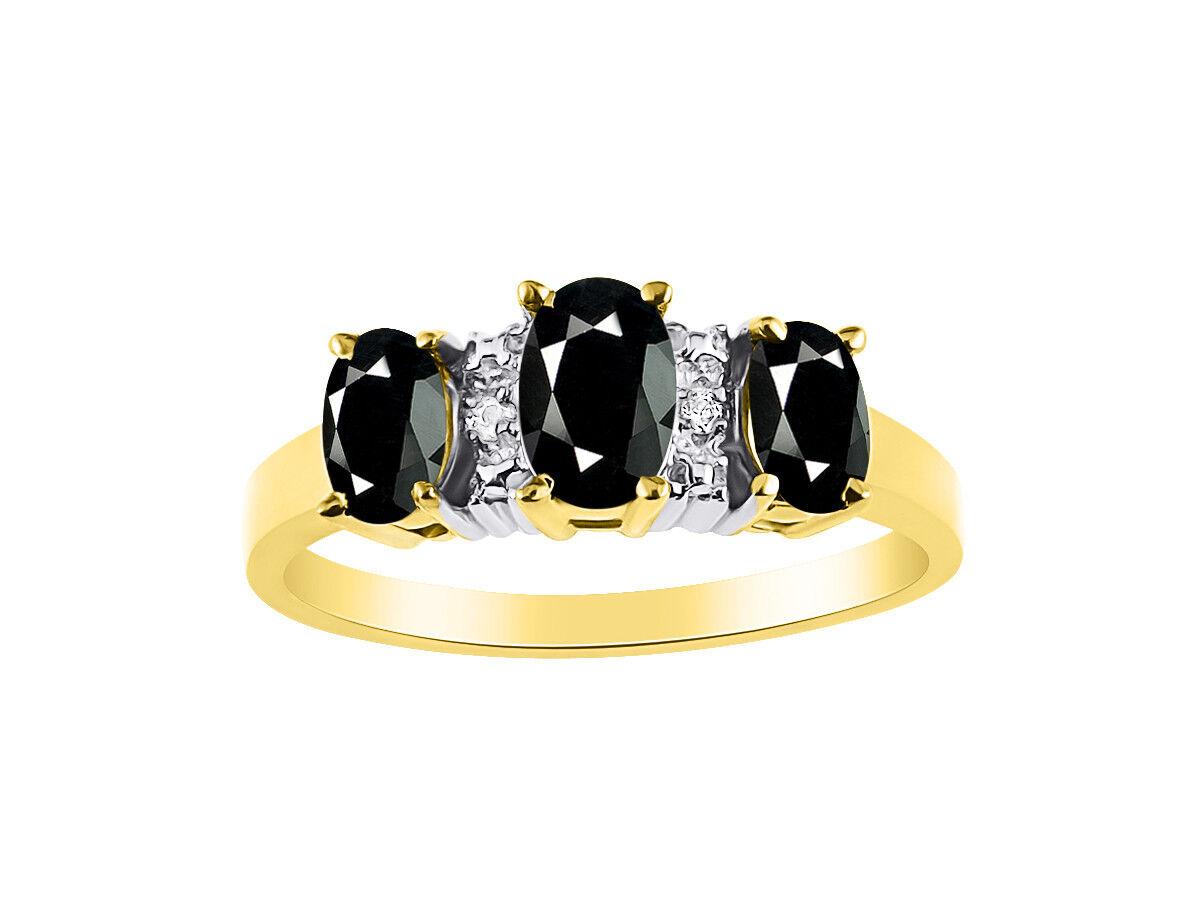 Diamond & 3 Stone Onyx Ring Set In 14K Yellow gold - color Stone Birthstone Rin