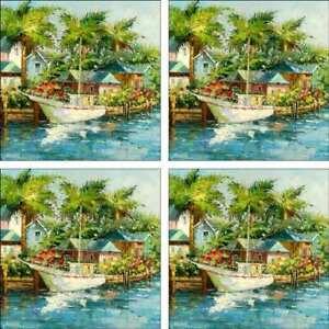 Tropical-Art-Accent-amp-Decor-Tile-Set-Ching-Sailboat-Ceramic-CH092
