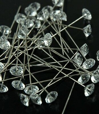 CRYSTAL RHINESTONE WEDDING BOUQUET CAKE JEWELS PINS 50 COUNT FLORAL DECOR PICKS