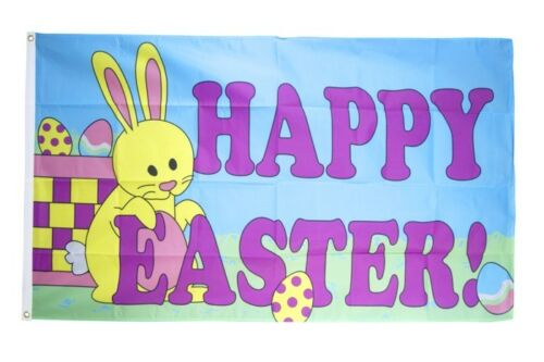Fahne Happy Easter mit Osterhase Flagge Ostern Hissflagge 90x150cm