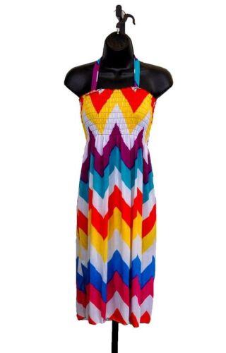NEW Gray Blue Orange Multicolor Beach Cover up Summer Sleeve Sun DRESS S M L XL