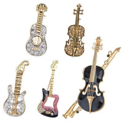 Gold Enamel Crystal Rhinestone Musical Instruments Guitar Violins Brooch  Pin | eBay