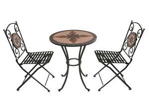 Set tavolo mosaico da giardino 2 sedie pieghevoli in ferro for Tavolo e sedie da esterno in offerta