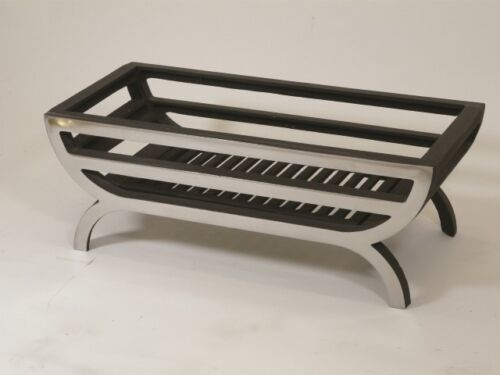 """16/"""" FIRE BASKET// GRATE //POLISHED //SOLID FUEL  WOOD FIREPLACE WOODBURNING"""