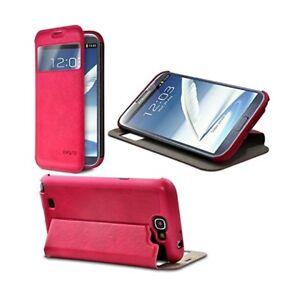 Etui-a-Rabat-Lateral-avec-Fenetre-Couleur-Rose-Fushia-pour-Samsung-Galaxy-Note-2
