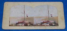 Lighthouse Station Hong Kong & Chinese Junks Hong Kong (2 Sided) Stereoview Card