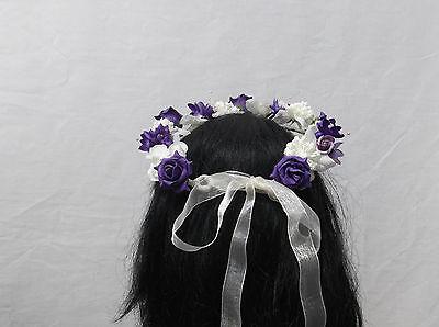 Energico Viola/avorio Fiore Circlet-matrimonio Halo, Fiore Ragazza-by Valerie J- Aspetto Elegante