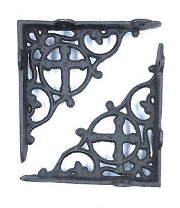 SET OF 4 CAST IRON GINGERBREAD BRACE SHELF BRACKETS antique brown patina finish