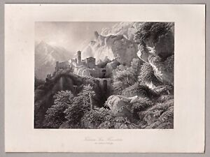 Italien-Italia-Kloster-San-Benedetto-Sacro-Speco-Stahlstich-A-H-Payne-1846