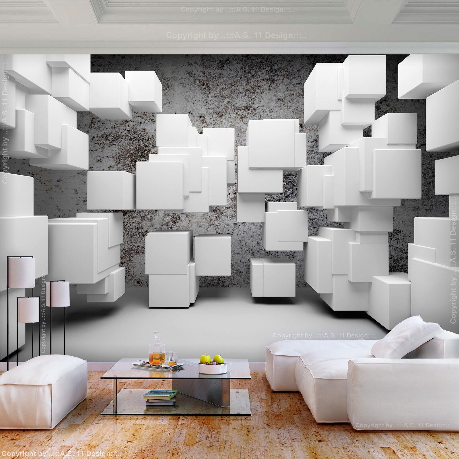 VLIES FOTOTAPETE Abstrakt wei grau 3D effekt TAPETE Wohnzimmer WANDBILDER XXL