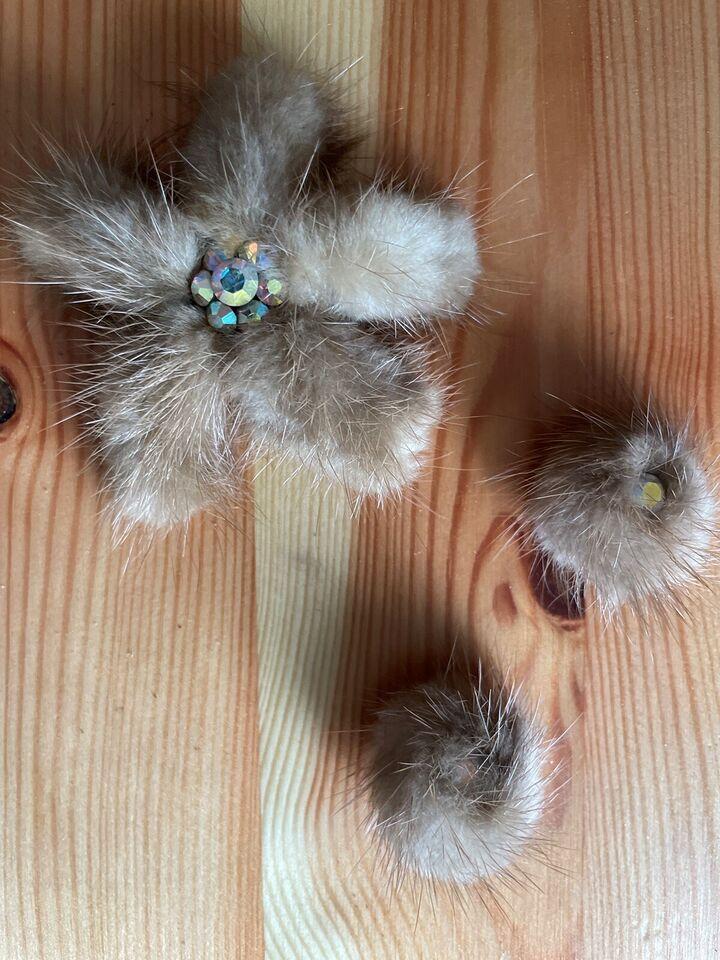 Øreclips, andet materiale, Mink