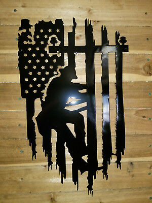Lineman With Flag Metal Sign Decor Wall Art Hand Made Tx Ebay