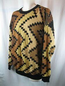 Tundra-Canada-Herren-Multicolor-schwere-Texturierte-COOGI-Style-Pullover-L