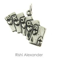 925 Sterling Silver Royal Flush Poker Charm Made In Usa