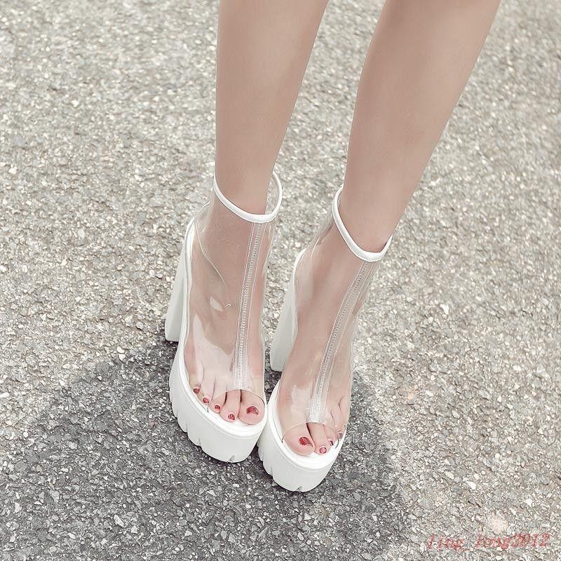Para mujeres Plataforma Claro Sandalias Con Con Con Tacón de Cuña Muy Alto Zapatos de discoteca Transparente  tienda en linea