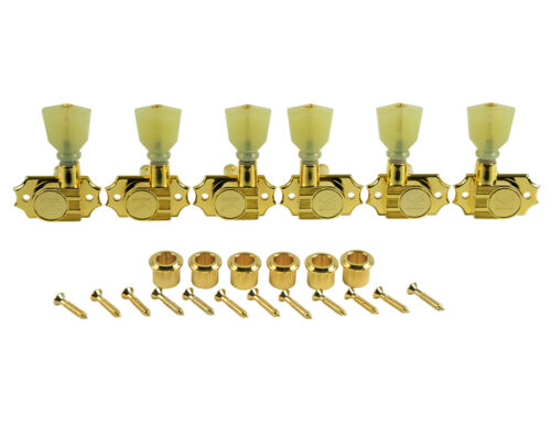 Gold KEDPNC-3801G Kluson Revolution Tuners 3x3 No Collar Pearloid button