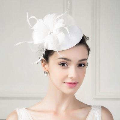Women Hat Kentucky Derby Church Wedding Noble Dress linen feather Sinamay hat 45