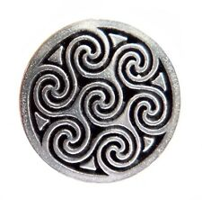 Celtic Seven Swirl Pewter Pin Badge - Hand Made in Cornwall
