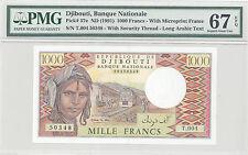 1991 Djibouti, Banque Nationale 1000 Francs PMG 67 EPQ Superb GEM UNC, P#:37e