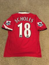MANCHESTER UNITED HOME SHIRT 2004/06 ADULTS MEDIUM (M) SCHOLES 18 VINTAGE JERSEY