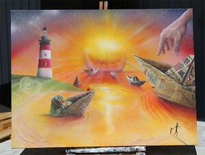 quadro-barchette-di-carta-paper-boat-DIPINTO-A-MANO-QUADRO-MODERNO-painting