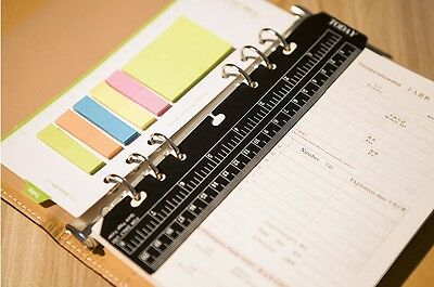 Essencedelight Refill Paper Clear Plastic Page Marker Pouch Measuring Today Ruler for A5 Size 6-Hole Binder Notebook,black
