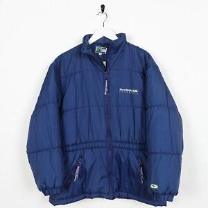 Vintage-Damen-90s-Reebok-Freestyle-Small-Logo-Gepolsterte-Mantel-Jacke-blue-UK-12