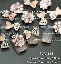 3D Nail Art Tips Decoration Bow Knot & Flower Nude Glitter Alloy Jewelry#CA126