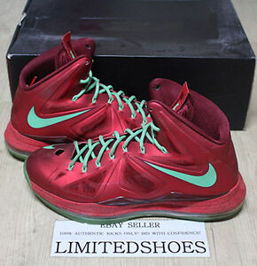 super popular 29e05 d8636 Image is loading NIKE-LEBRON-X-10-CHRISTMAS-UNIVERSITY-RED-541100-