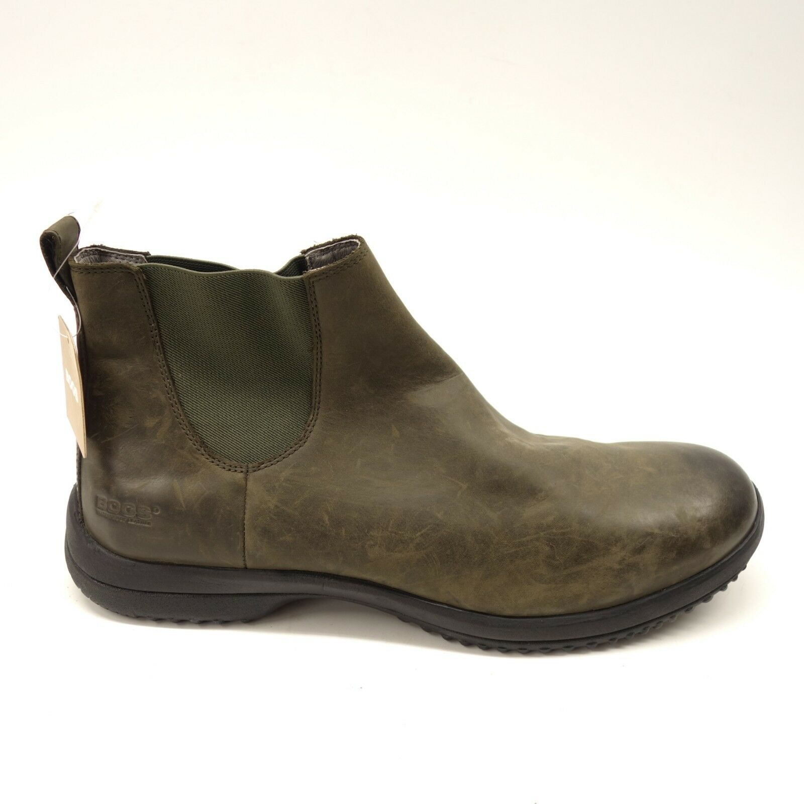 New Bogs Mens Carson Chelsea Rain Leather Casual Olive Waterproof Boots Size 14