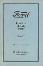 Model T - Price List of Body Parts