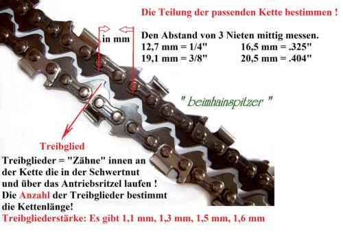 3//8 x 1.5 für Kettensäge Motorsäge MCCULLOCH Sägekette 50//51 cm 72 Treibgl