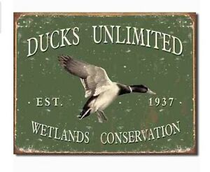 Image Is Loading Ducks Unlimited Metal Sign Vintage Style Rustic Hunting