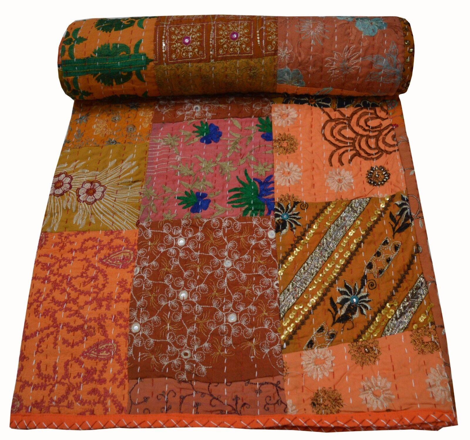 Reversible Patchwork Kantha Indian Quilt Queen Bedding Blanket Queen Throw Art
