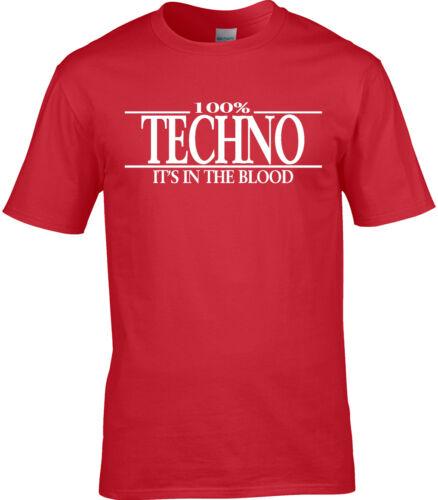 100/% Techno Gift DJ Rock Electronic Techno Mens T-Shirt