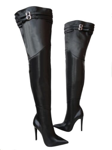Botas Custom Belt Stiefel Cq Sexy Black Negro Couture Overknee 36 Leather Boots R885YqX