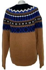 NEW, MONCLER MEN'S BROWN AND BLUE KNIT SKI SWEATER, L, $1650
