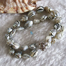 """8"""" 6-7mm White Water Wave 2row Baroque Freshwater Mother Of Pearl Bracelet"""