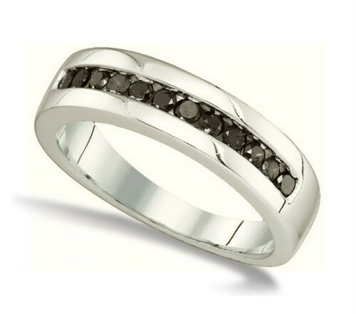 Men's 100% 925 Sterling Silver Genuine Channel Set Black Diamond Ring Band .50ct