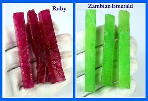US Seller Natural Zambian Emerald & Ruby 360 Ct 6 Pcs Gemstone Slice Rough Lot