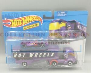 NEU-2019-Hot-Wheels-Big-Rig-Semi-Truck-mit-f-1-Racer-lila